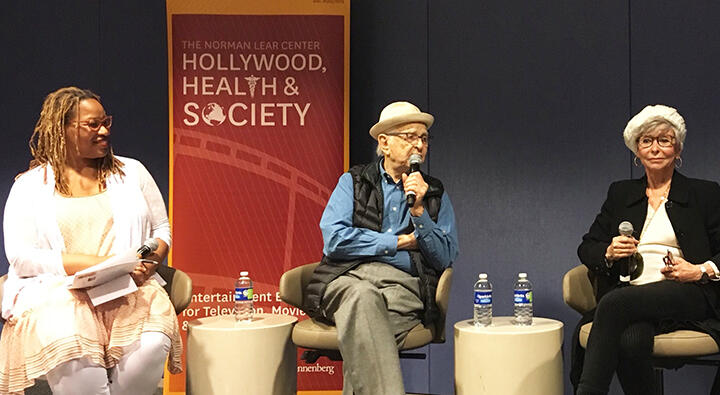 Dr. Zoanne Clack, Norman Lear and Rita Moreno during panel discussion