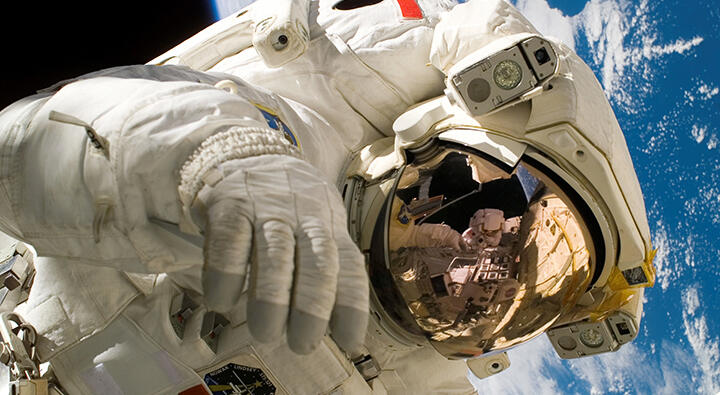Astronaut Piers Sellers space walks in 2006.